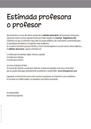 Estimada profesora o profesor